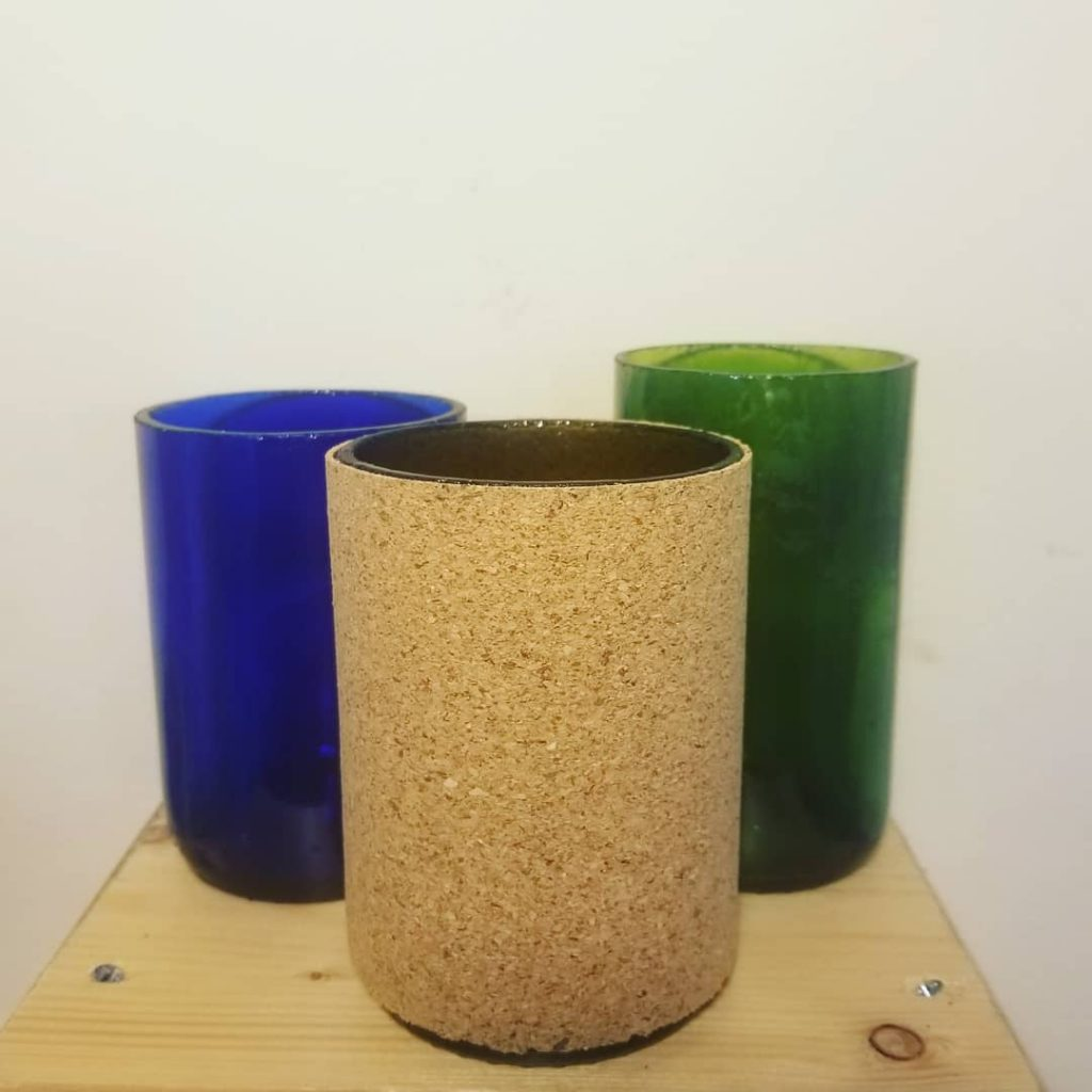 Recycled Wine Bottle Pots