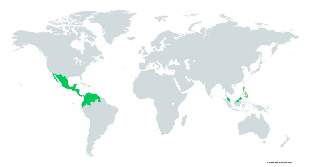 Spathiphyllum or peace lily origin map